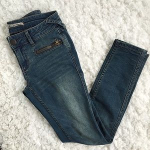 Free People Medium Wash Skinny Jeans Faded